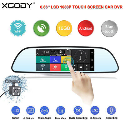 "Dual Lens 7"" HD 1080P Car DVR GPS Navigation Rearview Dash Camera Recorder WiFi"