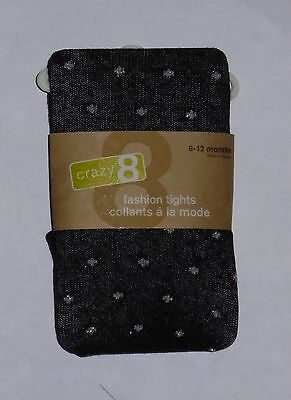 Crazy 8 Girls Black Winter Tights Silver Dot 4 5-6 7-8 10-12 NWT