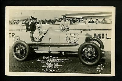 Car Auto Racing Vintage real photo postcard RPPC Indy 500 Fred Comer 1926