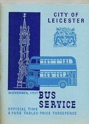 Leicester City Transport November 1957 Official Bus Time And Fare Table Booklet