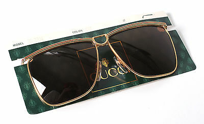 8ba2fe71f0 Rare Vintage Gucci Sunglasses with Dark Amber Brown Lenses Model 2204 -  ITALY