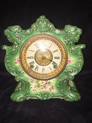 """Ansonia """"Torry"""" Green Porcelain w/Violets Mantle Clock with Key"""