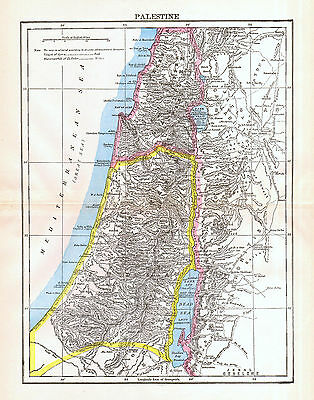Palestine Map Antique 1897 Original Middle East History Color Wall Decor