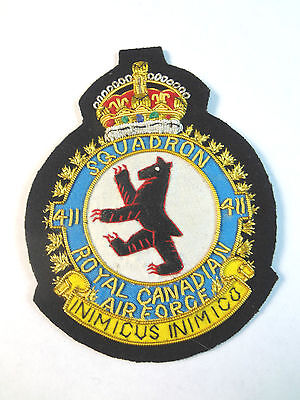 "Canadian Airforce - 411th SQUADRON Patch 4"" x 3"" (Vintage) ""INIMICUS INIMICO"""