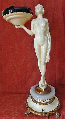 "Antique (1915 - 1930) 28""h Art Deco Metal Nude Woman Floor Ashtray Lighted Base"