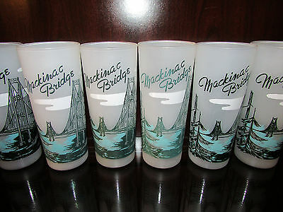 """1950's Vintage LOT of 6 MACKINAC BRIDGE Frosted Glasses Michigan 6 5/8"""" tall"""