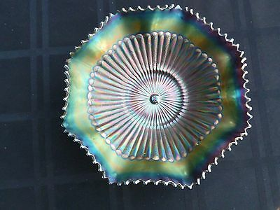 "Northwood's ""Stippled Ray"" Amethyst Carnival Glass Bowl - Electric!"
