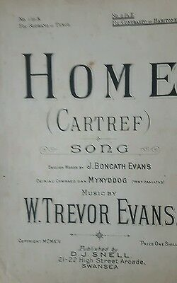 musical notes HOME ( CARTREF) MUSIC BY W T EVENS