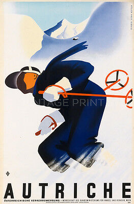 Ski Autriche, 1930 Vintage Travel Reproduction Canvas Print 20x30