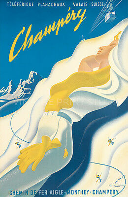Ski Champery Vintage Travel Reproduction Canvas Print 20x31