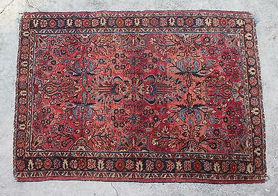 "Semi Antique 1930's Hand Made Persian Sarouk Area Rug-3'4"" X 4'10""-"
