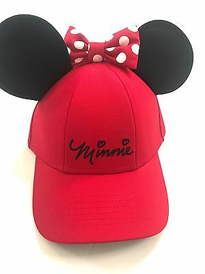 Disney Minnie Mouse Polka Dot Baseball with Ears, Red Youth Girls Hat Cap