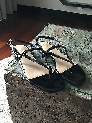 Trenery Size 39, Black Leather Sandals, Small Heel, New, Two Weeks Old