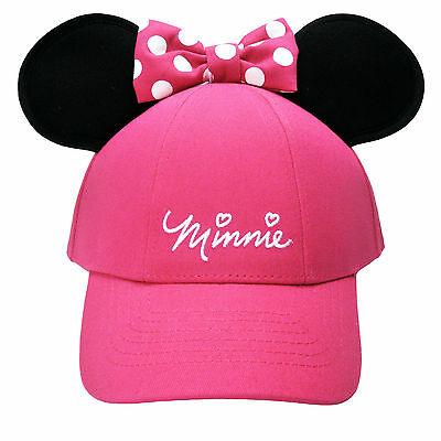 Disney Minnie Mouse Polka Dot Baseball with Ears, Pink Youth Girls Hat Cap