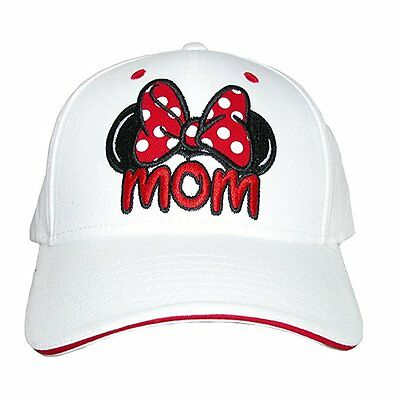 Disney Minnie Mouse Mom Bow Polka Dot Adult Hat Cap White Brand New