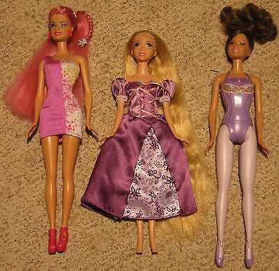 Mattel BARBIE lot - Disney Rapunzel Tangled and Ballerina and Fashion doll loose