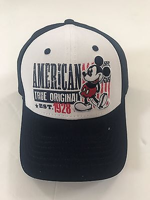Disney Mickey Mouse True Original USA 1928 Adult Hat Cap White Navy Brand New
