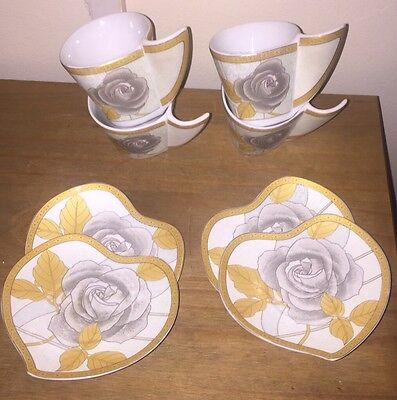 Best Of China 4 Small Cup Set .pretty Art Deco Style & Pattern