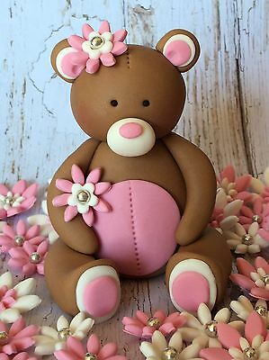 Edible 3D Teddy Bear 36 Flowers BIRTHDAY CAKE TOPPERS CUPCAKE DECORATIONS