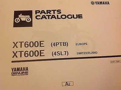 YAMAHA XT 600E PARTS LIST MANUAL CATALOGUE 4PTB 4SL7 Paper bound copy