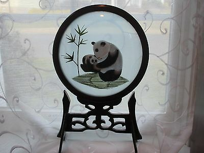 Chinese silk embroidered,double sided picture of pandas under glass