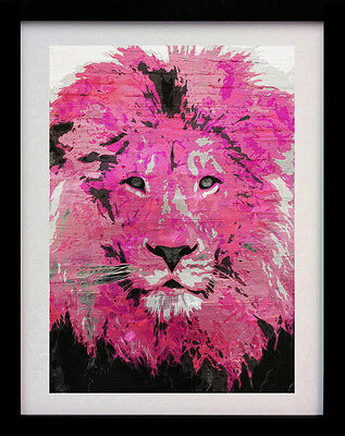 Pink Lion Face A3 Street Art Animal Poster Print - Limited Edition Of 100