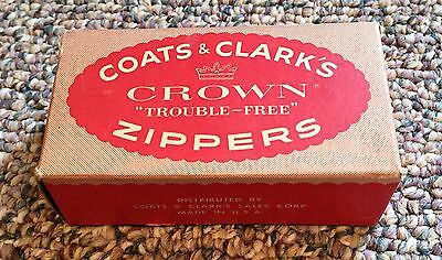 Vintage Coats & Clark's Crown Trouble-Free Zippers Orginal box Full Red