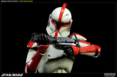 Star Wars~Republic Clone Captain~Red Armor~Sixth Scale Figure~Sideshow~Mib