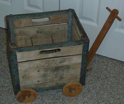 RARE * Vintage  Wood & Metal Milk Crate Wagon