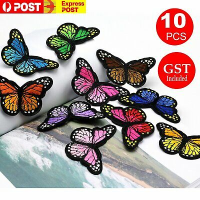 10pcs Butterfly Patch Embroidered Badge Applique Iron On Cloth Lace DIY Patches