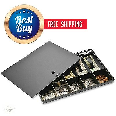 Money Tray Box Locking Cover Cash Register Till Drawer with Lock Black Metal NEW