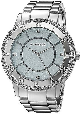 Women's Watch Crystal Accented Bezel Silver Tone Bracelet Fashion Rampage Watch