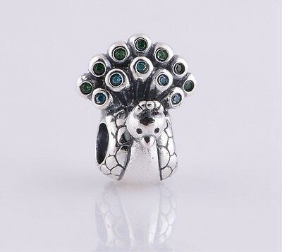 Authentic Genuine Pandora Sterling Silver Blue Green Peacock Charm  791227MCZ