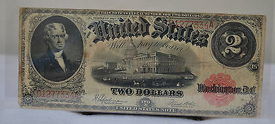Thomas Jefferson 1917 Red Seal Banknote Large Size $2 Two Dollar Bill Note D
