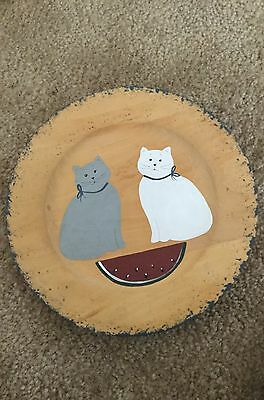 decorative wooden plate cat theme