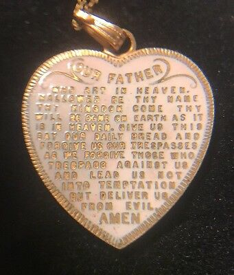 Antique Gold Filled And Pink ENAMEL Heart  Pendant LORDS PRAYER