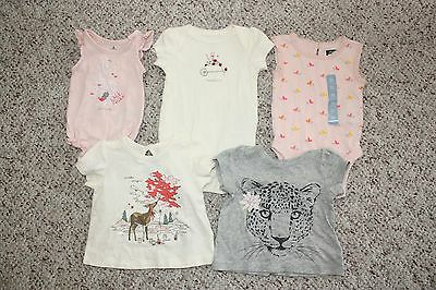 NWT Baby Gap Girls Lot of 5 Short Sleeve & Sleeveless Tops Bodysuits Size 0-3M