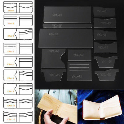 13x New Clear Acrylic Wallet Pattern Stencil Template Set Leather Craft DIY Tool