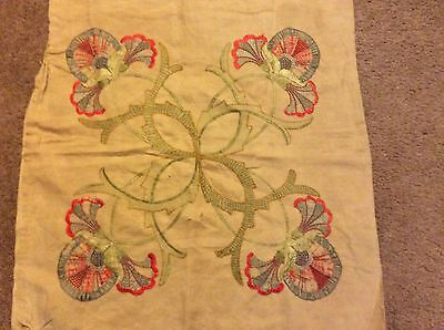 Antique Linen Arts & Crafts Hand-Embroidered Pillow Cover