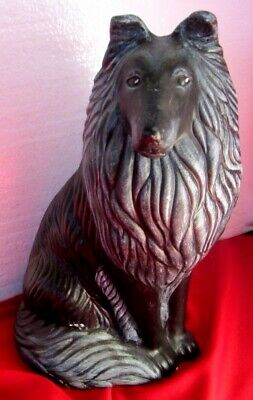 """Ceramic Collie Sitting 9 1/2"""" Tall - Signed - Noble Looking, Well Done"""