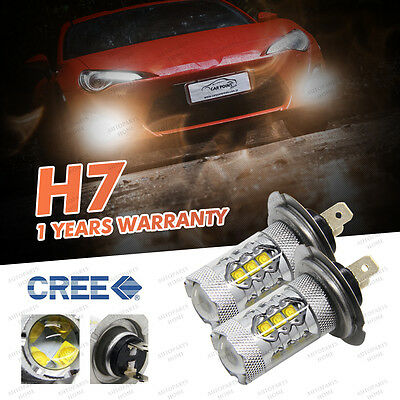 2X 80W H7 16SMD 6000K CANBUS CREE LED DRL Headlight Driving Fog Lamp Bulb 12V