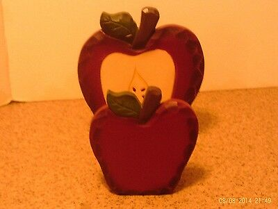 Wooden Red Apple Napkin or Mail  Holder - Country Decor