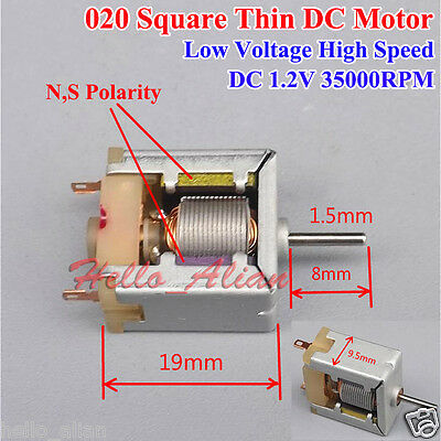 Mini 020 Square Thin HM DC Motor DC1.2V 35000RPM High Speed Low Voltage For Toy
