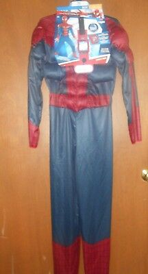 NEW Boys Halloween Costume, Amazing Spiderman 2, Size Large (10-12), muscles