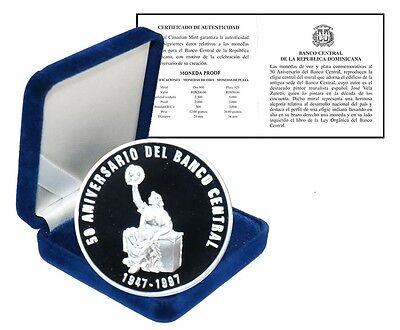 Dominican Republic 50 Pesos, 28.35g Silver Proof Coin, 1947-1997, KM # 104, Mint
