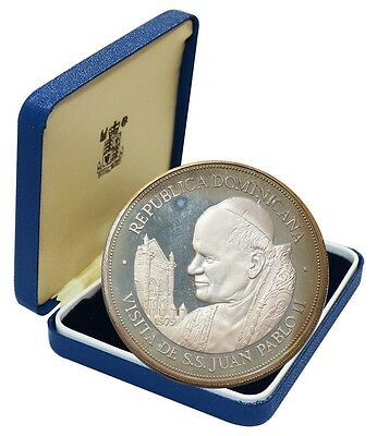 Dominican 25 Pesos, 65g Silver Coin, 1979, KM # 54, Mint, Visit of John Paul II