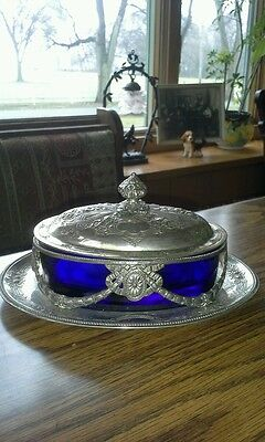 Antique silver and cobalt blue glass covered dish