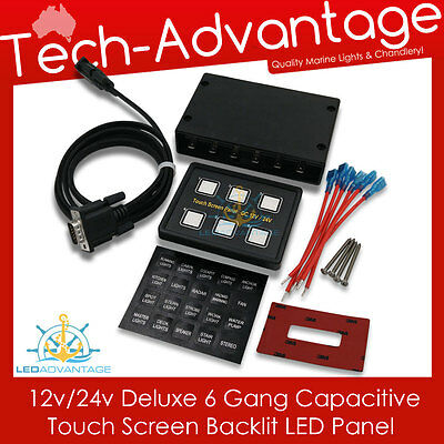 12V 6 Gang Led Backlit Touch Screen Landcruiser/boat/caravan/yacht Switch Panel