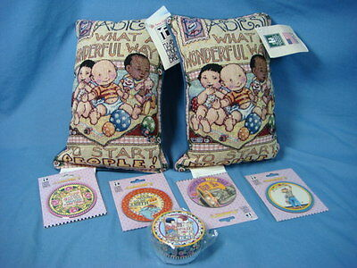 Lot of Unused Mary Engelbreit Items 2 Pillows 1 Small Gift Box 4 Magnets