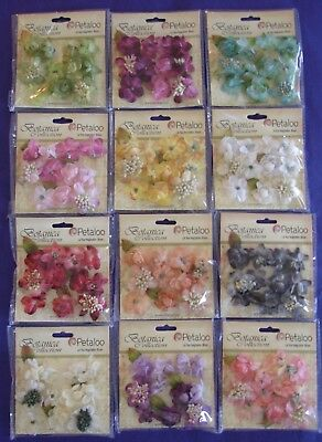"U Choose) Petaloo Botanica Minis 1"" Flowers ~ Purple Pink Ivory Teal Red Coral"